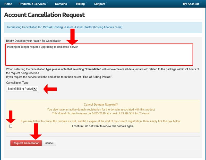 Host-it Tutorials > Client Portal Tutorials > Cancel a Service/ Product
